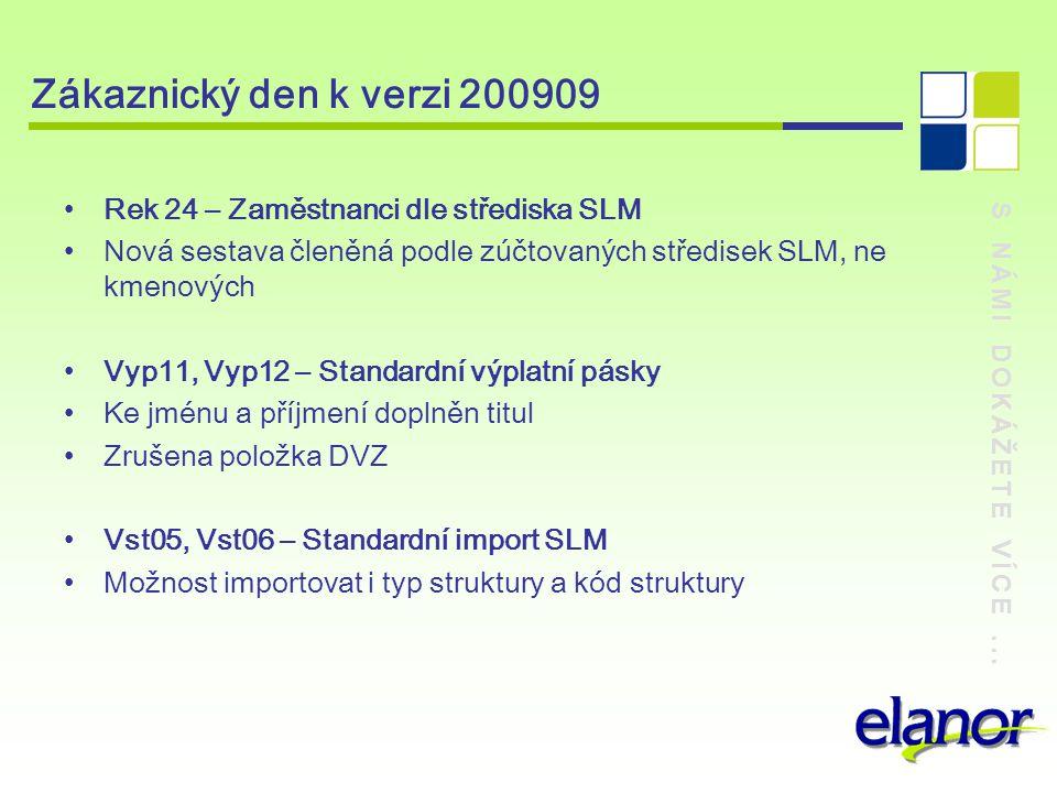 S NÁMI DOKÁŽETE VÍCE... Zákaznický den k verzi 200909 Rek 24 – Zaměstnanci dle střediska SLM Nová sestava členěná podle zúčtovaných středisek SLM, ne