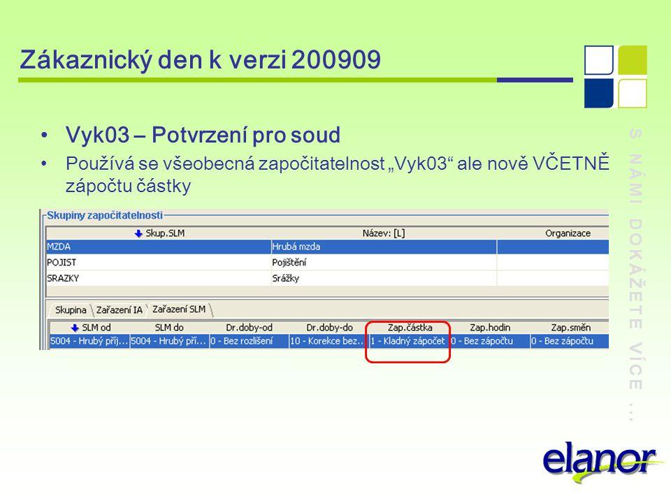 """S NÁMI DOKÁŽETE VÍCE... Zákaznický den k verzi 200909 Vyk03 – Potvrzení pro soud Používá se všeobecná započitatelnost """"Vyk03"""" ale nově VČETNĚ zápočtu"""
