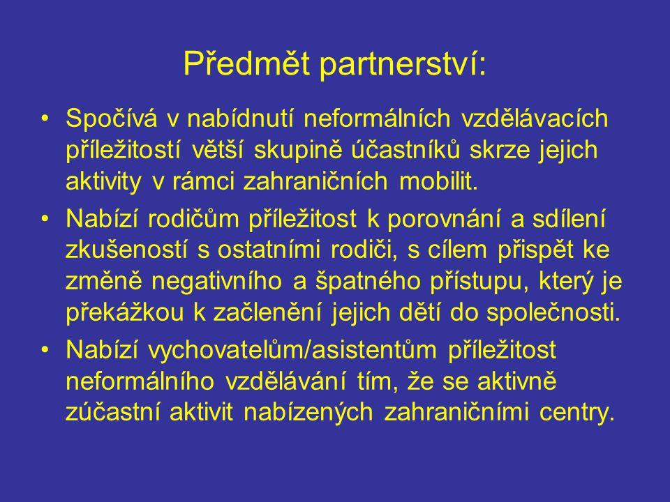 Předmět partnerství: Spočívá v nabídnutí neformálních vzdělávacích příležitostí větší skupině účastníků skrze jejich aktivity v rámci zahraničních mobilit.