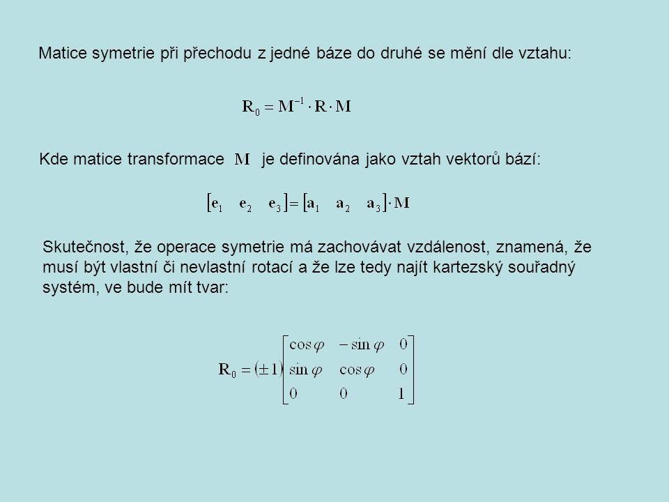 Matice symetrie při přechodu z jedné báze do druhé se mění dle vztahu: Kde matice transformace je definována jako vztah vektorů bází: Skutečnost, že operace symetrie má zachovávat vzdálenost, znamená, že musí být vlastní či nevlastní rotací a že lze tedy najít kartezský souřadný systém, ve bude mít tvar: