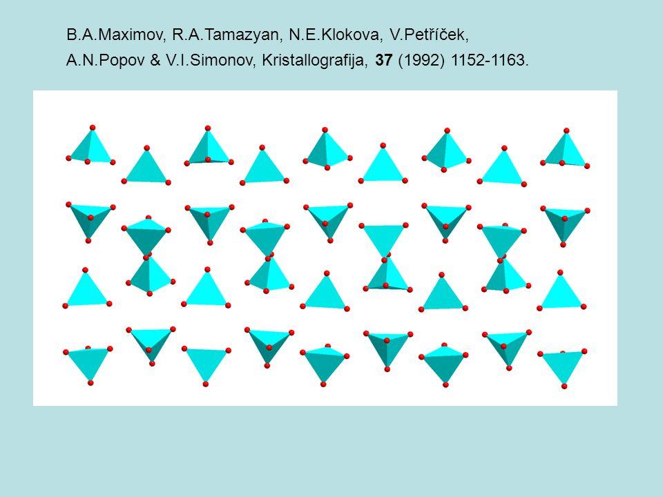 B.A.Maximov, R.A.Tamazyan, N.E.Klokova, V.Petříček, A.N.Popov & V.I.Simonov, Kristallografija, 37 (1992) 1152-1163.