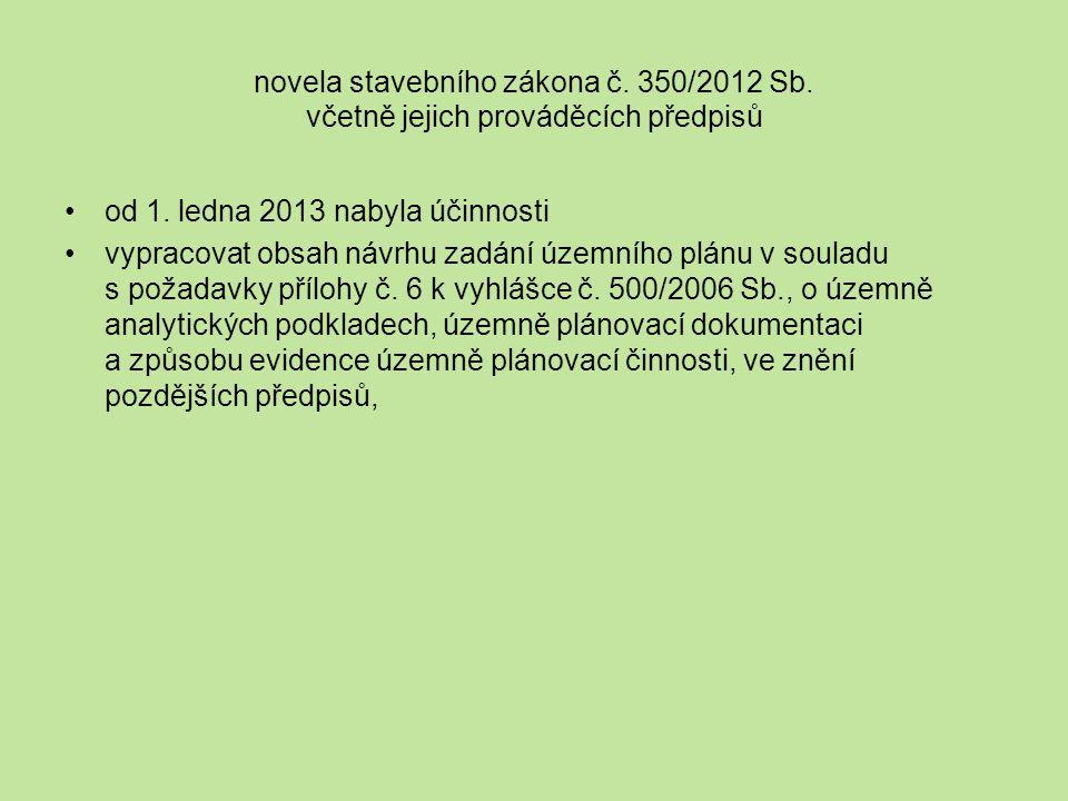 novela stavebního zákona č. 350/2012 Sb. včetně jejich prováděcích předpisů od 1.