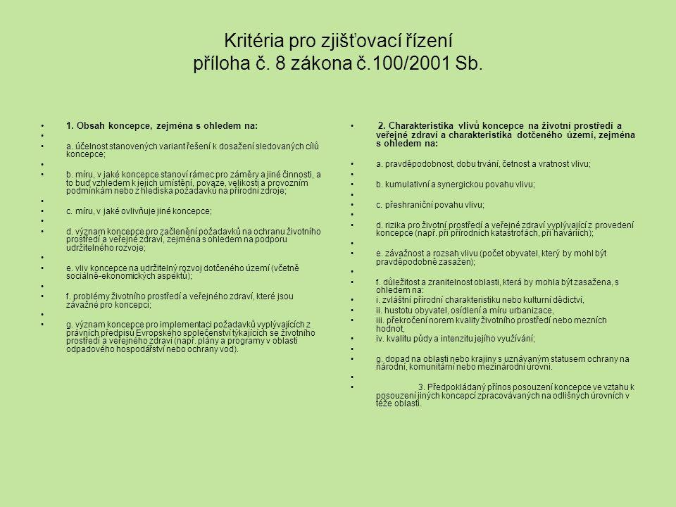 Kritéria pro zjišťovací řízení příloha č. 8 zákona č.100/2001 Sb.
