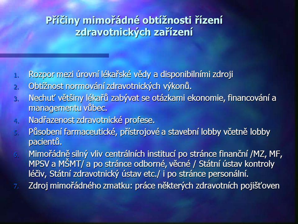 Příčiny mimořádné obtížnosti řízení zdravotnických zařízení 1. Rozpor mezi úrovní lékařské vědy a disponibilními zdroji 2. Obtížnost normování zdravot