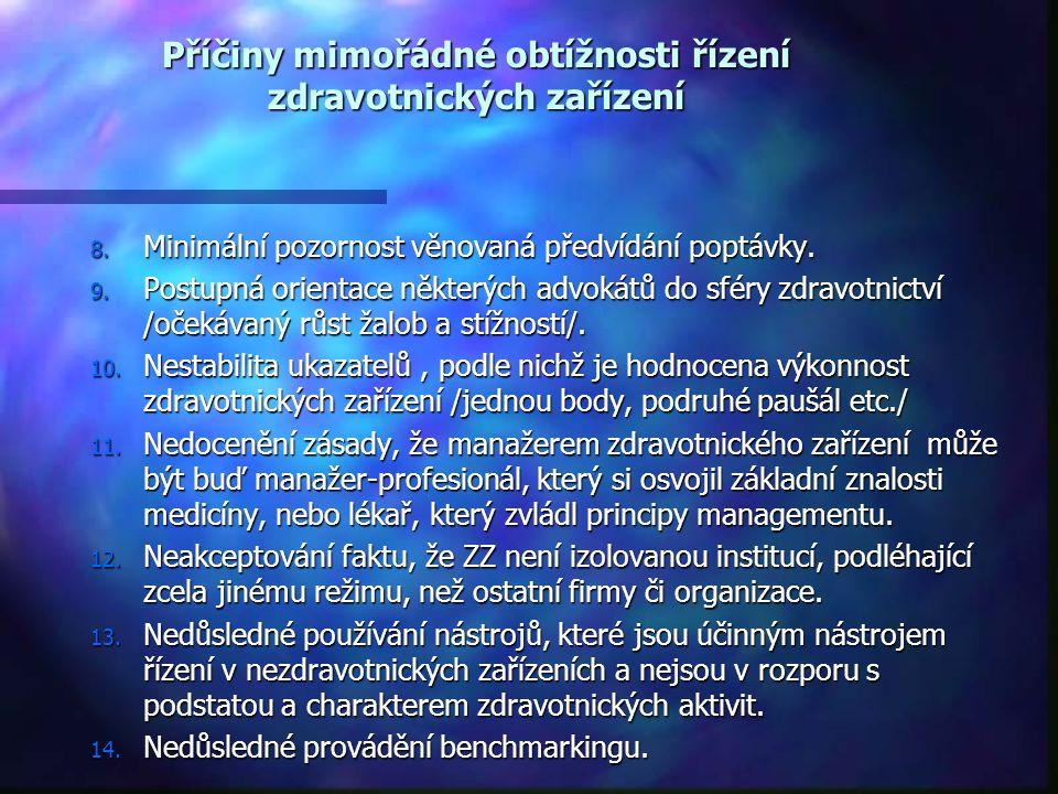 Příčiny mimořádné obtížnosti řízení zdravotnických zařízení 8. Minimální pozornost věnovaná předvídání poptávky. 9. Postupná orientace některých advok