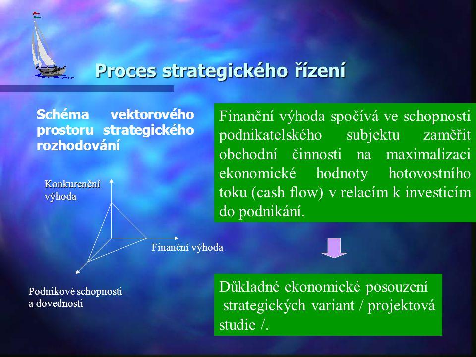 Proces strategického řízení Schéma vektorového prostoru strategického rozhodování Finanční výhoda Podnikové schopnosti a dovednosti Finanční výhoda spočívá ve schopnosti podnikatelského subjektu zaměřit obchodní činnosti na maximalizaci ekonomické hodnoty hotovostního toku (cash flow) v relacím k investicím do podnikání.