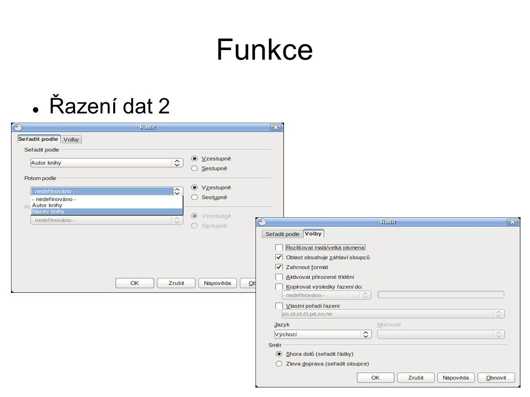 Funkce Řazení dat 2