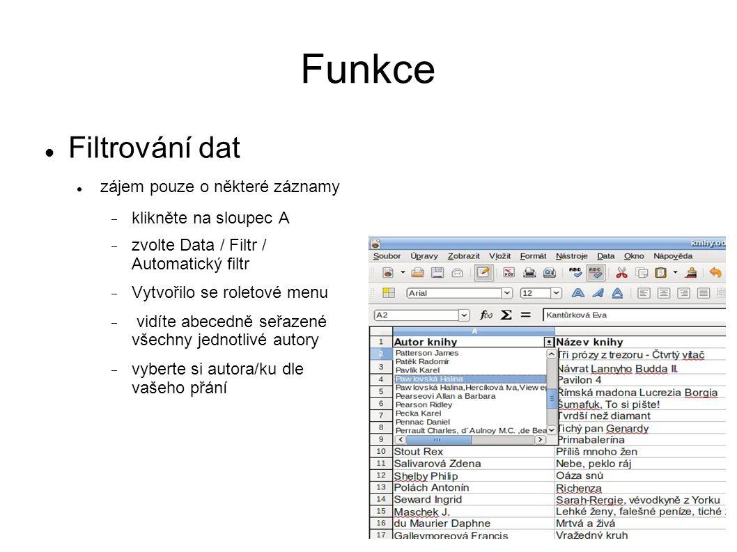 Funkce Filtrování dat zájem pouze o některé záznamy  klikněte na sloupec A  zvolte Data / Filtr / Automatický filtr  Vytvořilo se roletové menu  vidíte abecedně seřazené všechny jednotlivé autory  vyberte si autora/ku dle vašeho přání
