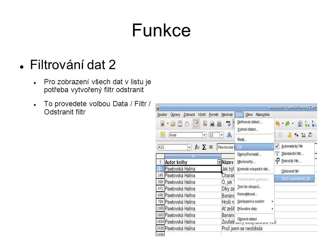 Funkce Filtrování dat 2 Pro zobrazení všech dat v listu je potřeba vytvořený filtr odstranit To provedete volbou Data / Filtr / Odstranit filtr