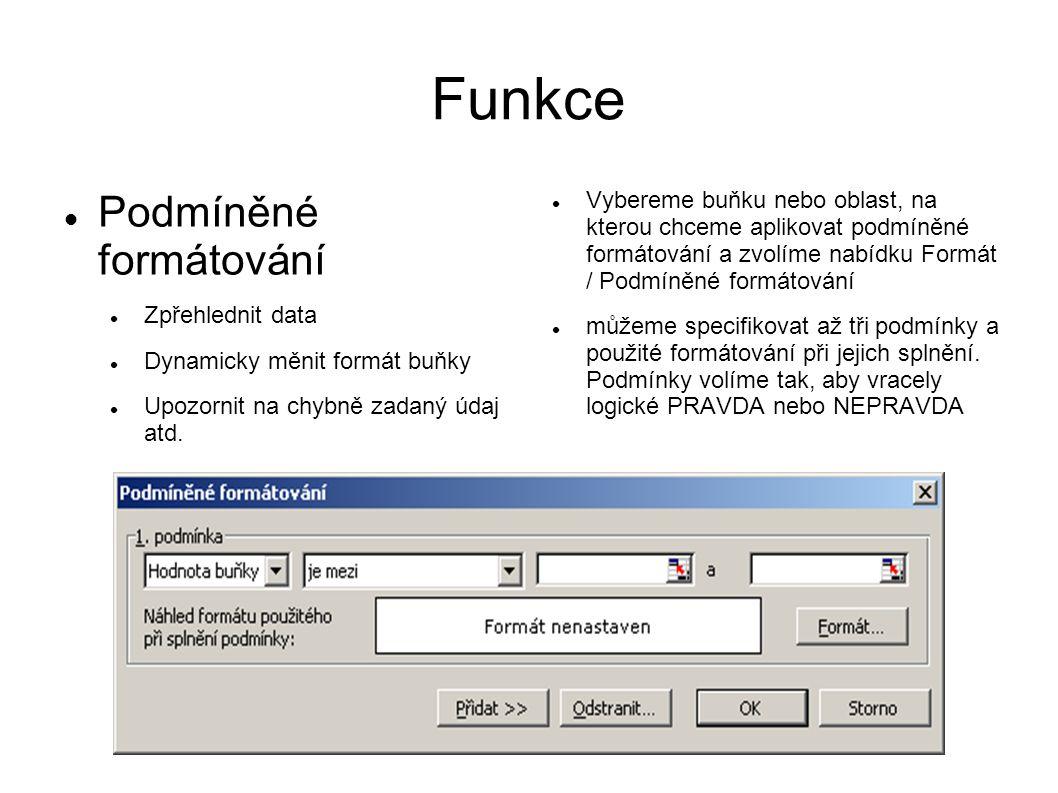 Funkce Podmíněné formátování Zpřehlednit data Dynamicky měnit formát buňky Upozornit na chybně zadaný údaj atd.