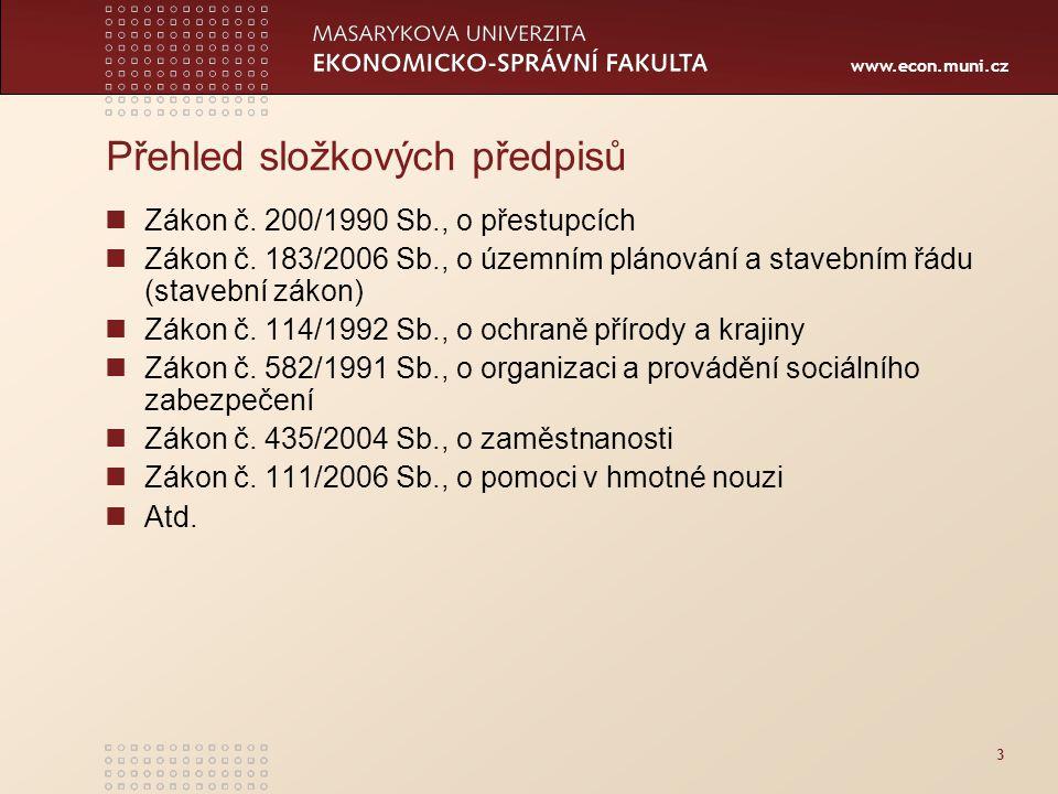 www.econ.muni.cz 3 Přehled složkových předpisů Zákon č. 200/1990 Sb., o přestupcích Zákon č. 183/2006 Sb., o územním plánování a stavebním řádu (stave