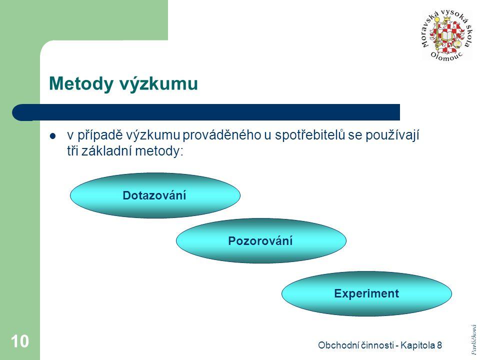 Obchodní činnosti - Kapitola 8 10 Metody výzkumu v případě výzkumu prováděného u spotřebitelů se používají tři základní metody: Dotazování Pozorování Experiment Pavlíčková