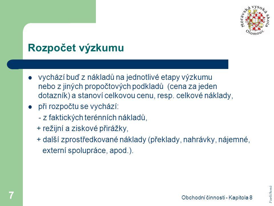 Obchodní činnosti - Kapitola 8 8 Získávání informací Pavlíčková