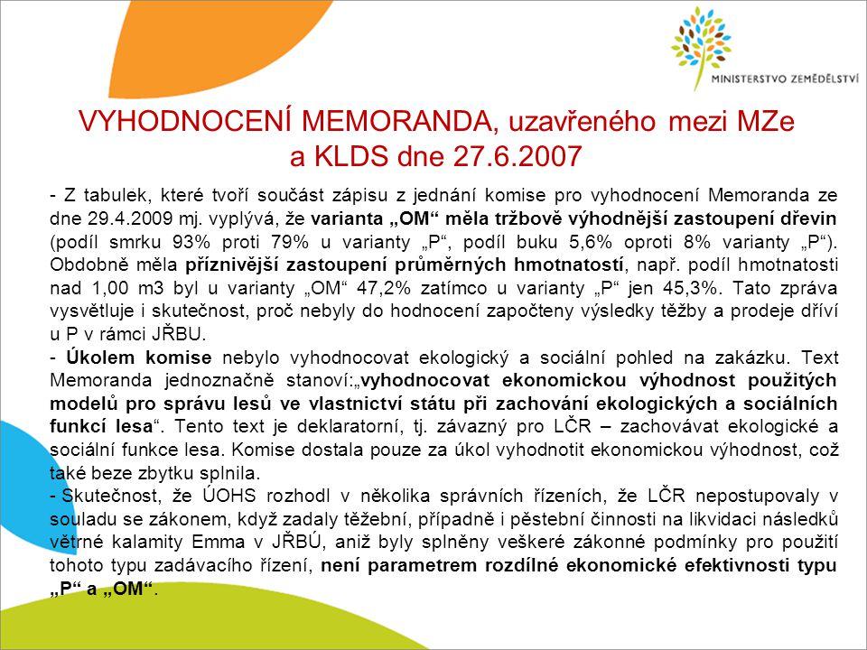 VYHODNOCENÍ MEMORANDA, uzavřeného mezi MZe a KLDS dne 27.6.2007 - Z tabulek, které tvoří součást zápisu z jednání komise pro vyhodnocení Memoranda ze dne 29.4.2009 mj.