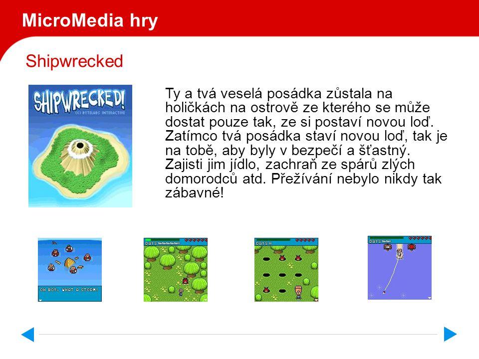 Shipwrecked MicroMedia hry Ty a tvá veselá posádka zůstala na holičkách na ostrově ze kterého se může dostat pouze tak, ze si postaví novou loď.