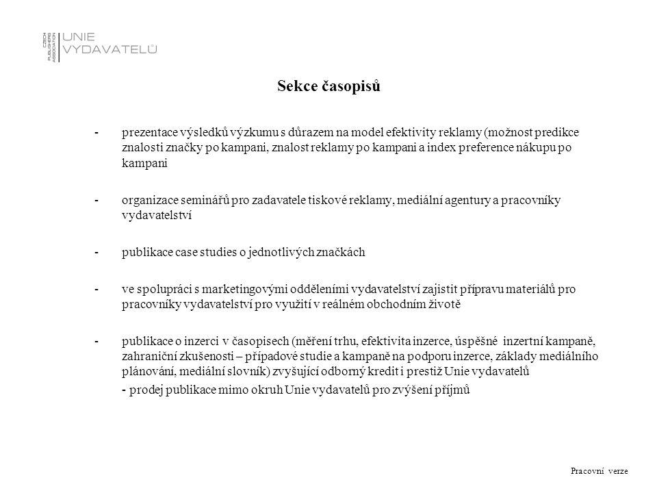 Pracovní verze Sekce časopisů - prezentace výsledků výzkumu s důrazem na model efektivity reklamy (možnost predikce znalosti značky po kampani, znalos