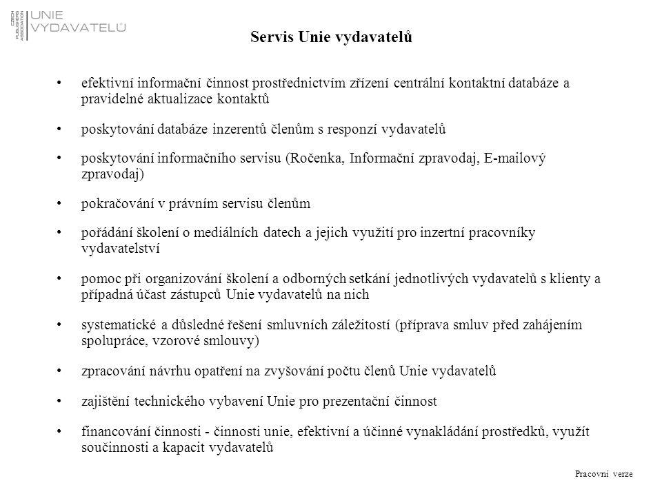 Pracovní verze Servis Unie vydavatelů efektivní informační činnost prostřednictvím zřízení centrální kontaktní databáze a pravidelné aktualizace konta