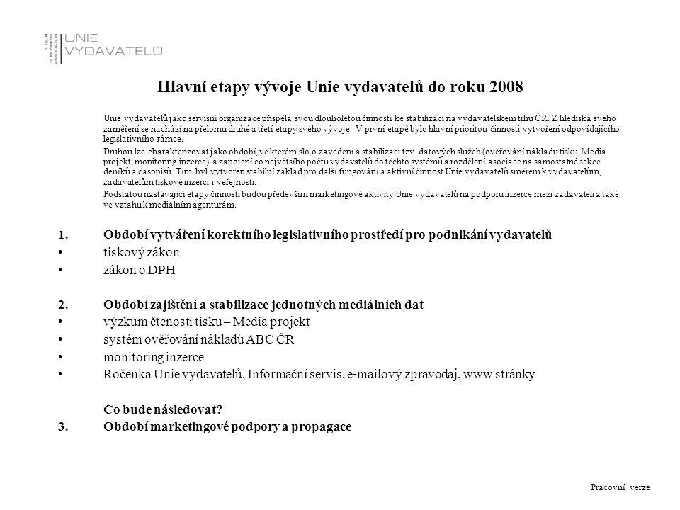 Pracovní verze Hlavní etapy vývoje Unie vydavatelů do roku 2008 Unie vydavatelů jako servisní organizace přispěla svou dlouholetou činností ke stabili