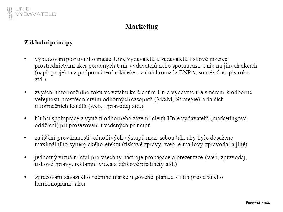 Pracovní verze Marketing Základní principy vybudování pozitivního image Unie vydavatelů u zadavatelů tiskové inzerce prostřednictvím akcí pořádných Un