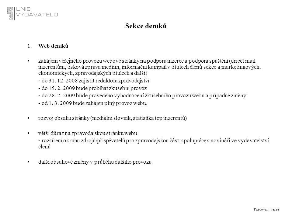 Pracovní verze Sekce deníků 1.Web deníků zahájení veřejného provozu webové stránky na podporu inzerce a podpora spuštění (direct mail inzerentům, tisk