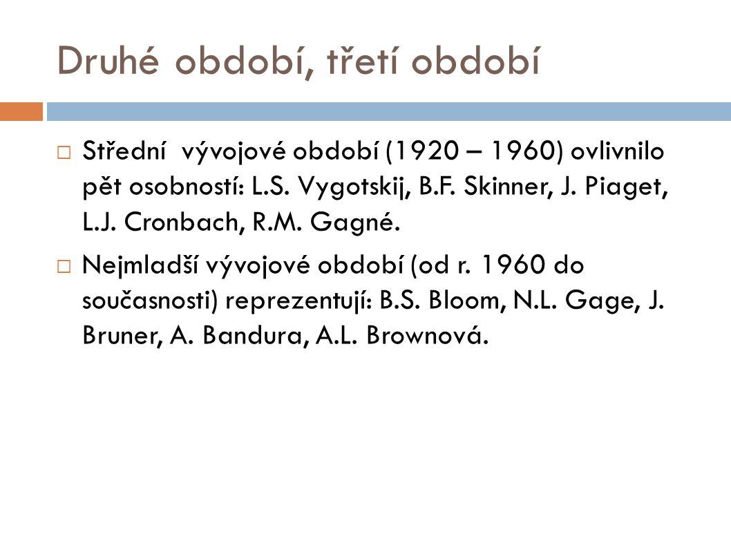 Druhé období, třetí období  Střední vývojové období (1920 – 1960) ovlivnilo pět osobností: L.S. Vygotskij, B.F. Skinner, J. Piaget, L.J. Cronbach, R.