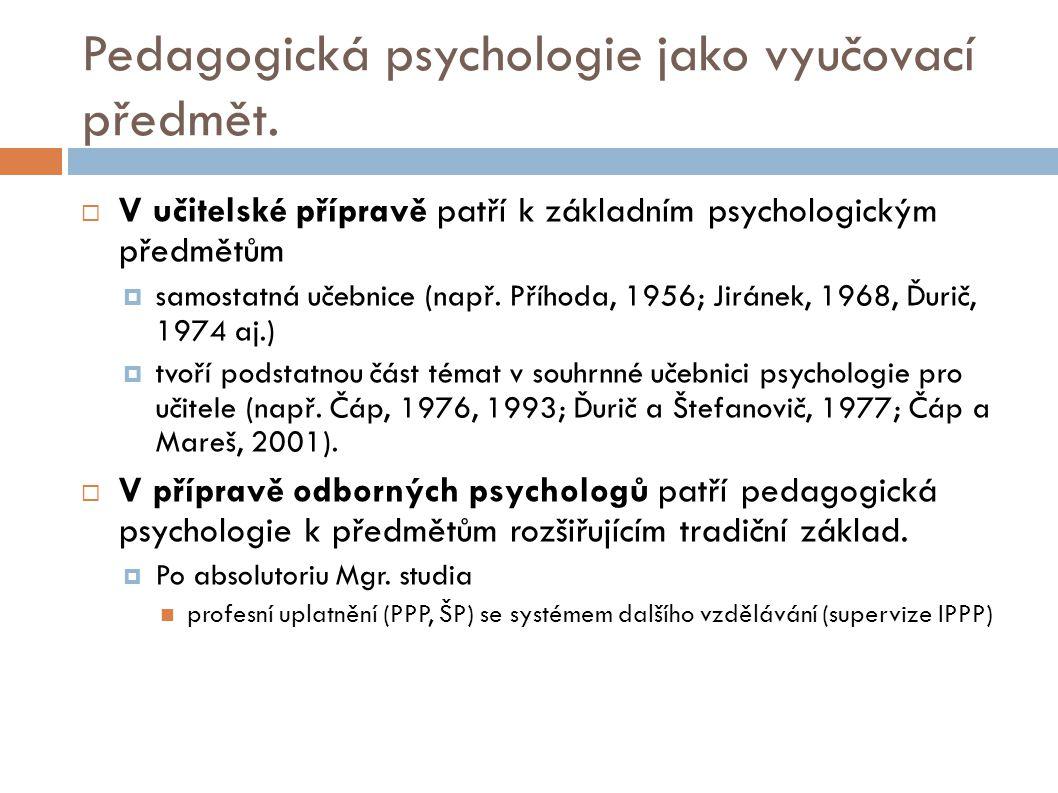Pedagogická psychologie jako vyučovací předmět.  V učitelské přípravě patří k základním psychologickým předmětům  samostatná učebnice (např. Příhoda