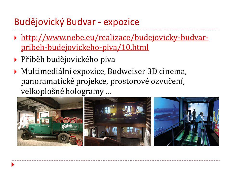 Budějovický Budvar - expozice  http://www.nebe.eu/realizace/budejovicky-budvar- pribeh-budejovickeho-piva/10.html http://www.nebe.eu/realizace/budejovicky-budvar- pribeh-budejovickeho-piva/10.html  Příběh budějovického piva  Multimediální expozice, Budweiser 3D cinema, panoramatické projekce, prostorové ozvučení, velkoplošné hologramy …