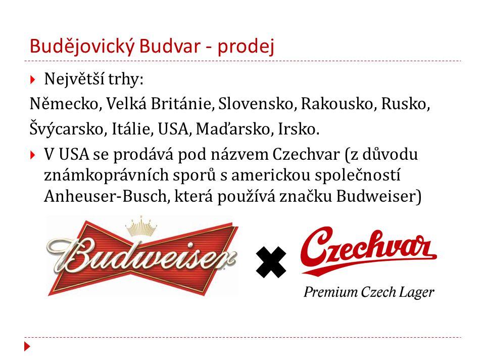 Budějovický Budvar - prodej  Největší trhy: Německo, Velká Británie, Slovensko, Rakousko, Rusko, Švýcarsko, Itálie, USA, Maďarsko, Irsko.