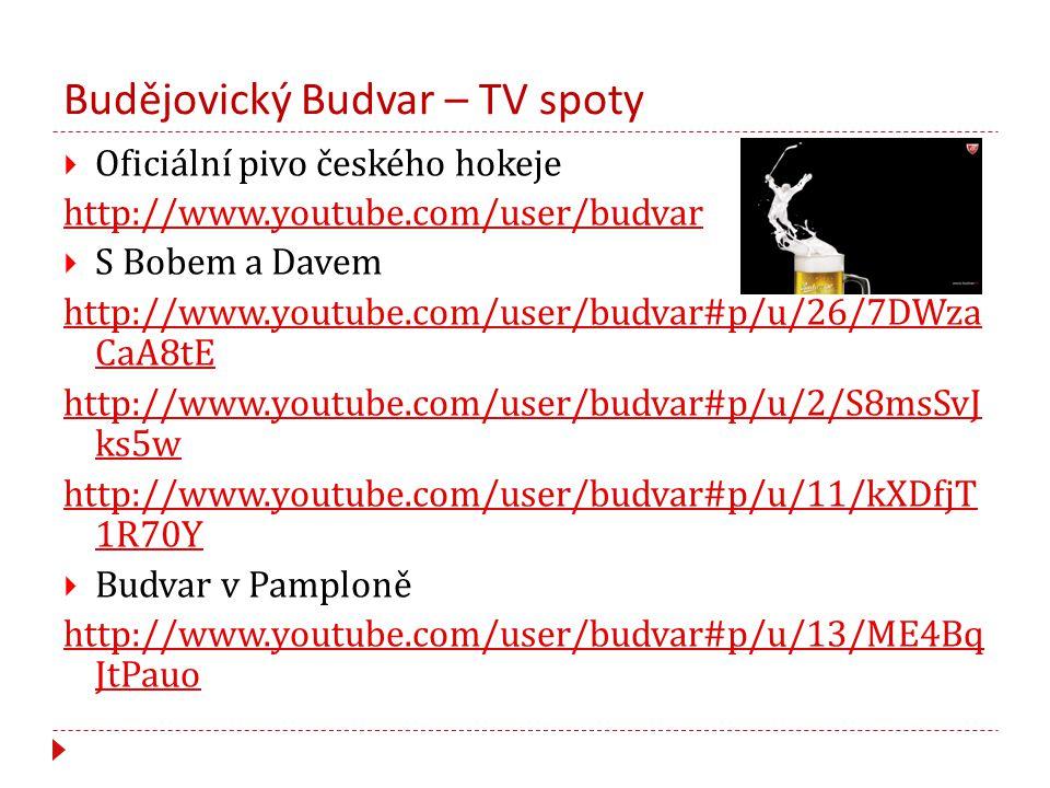 Budějovický Budvar – TV spoty  Oficiální pivo českého hokeje http://www.youtube.com/user/budvar  S Bobem a Davem http://www.youtube.com/user/budvar#p/u/26/7DWza CaA8tE http://www.youtube.com/user/budvar#p/u/2/S8msSvJ ks5w http://www.youtube.com/user/budvar#p/u/11/kXDfjT 1R70Y  Budvar v Pamploně http://www.youtube.com/user/budvar#p/u/13/ME4Bq JtPauo