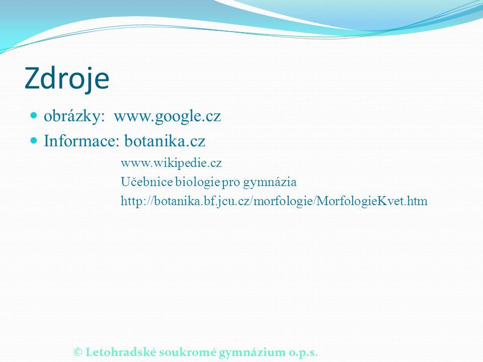 © Letohradské soukromé gymnázium o.p.s. Zdroje obrázky: www.google.cz Informace: botanika.cz www.wikipedie.cz Učebnice biologie pro gymnázia http://bo