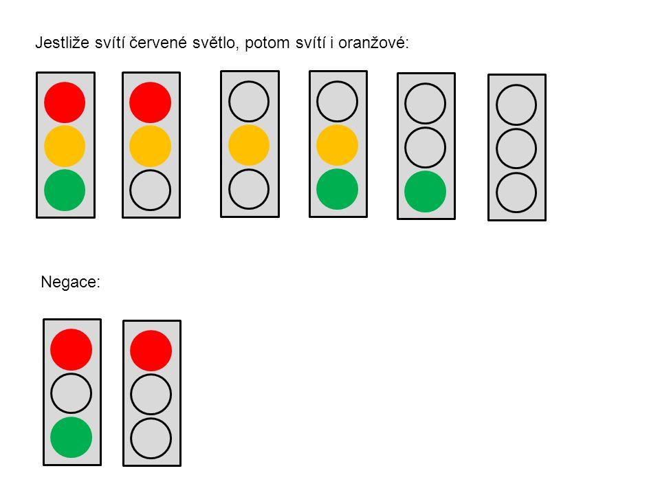 Negace: Jestliže svítí červené světlo, potom svítí i oranžové: