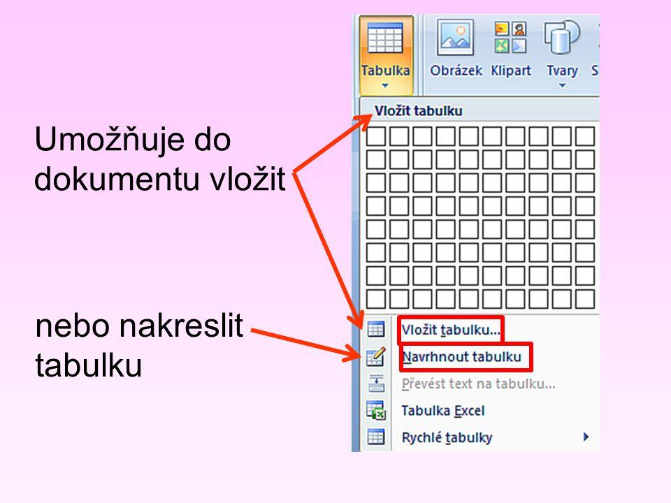 Umožňuje do dokumentu vložit nebo nakreslit tabulku