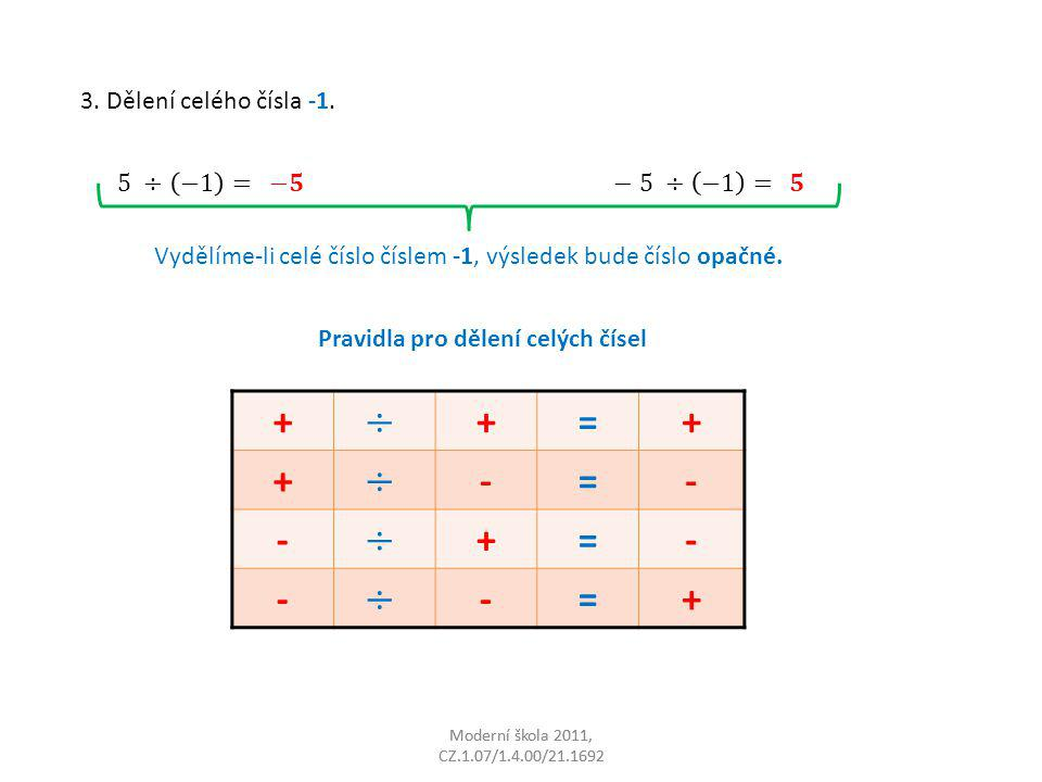 Moderní škola 2011, CZ.1.07/1.4.00/21.1692 3. Dělení celého čísla -1. Vydělíme-li celé číslo číslem -1, výsledek bude číslo opačné. Pravidla pro dělen