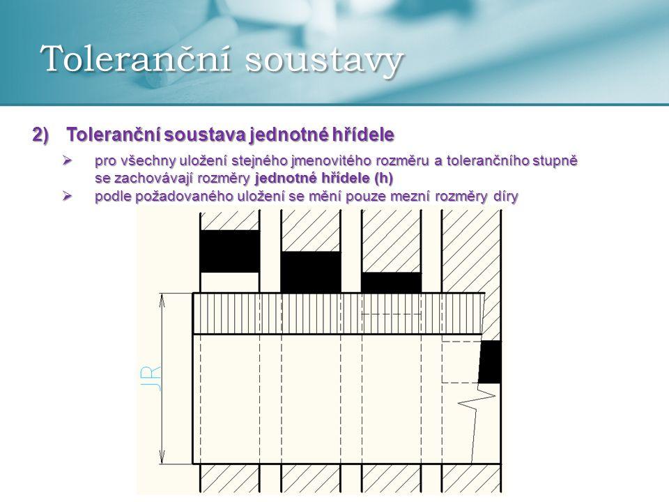 Toleranční soustavy 2)Toleranční soustava jednotné hřídele  pro všechny uložení stejného jmenovitého rozměru a tolerančního stupně se zachovávají rozměry jednotné hřídele (h)  podle požadovaného uložení se mění pouze mezní rozměry díry
