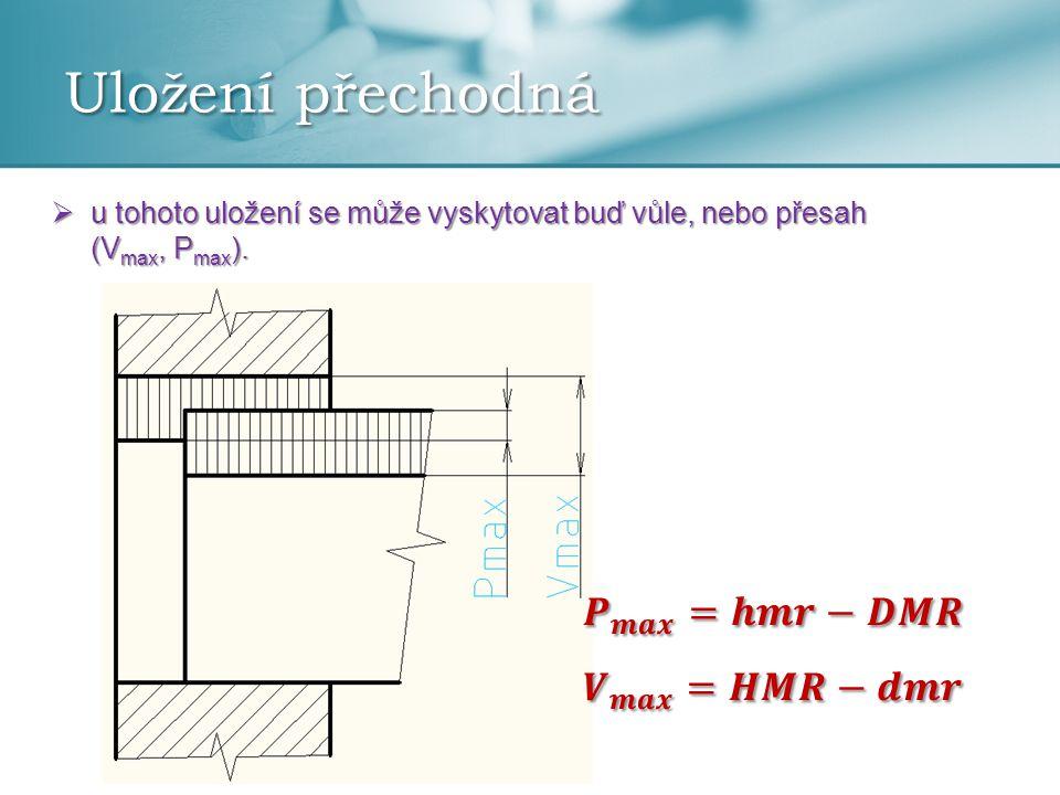 Uložení přechodná  u tohoto uložení se může vyskytovat buď vůle, nebo přesah (V max, P max ).