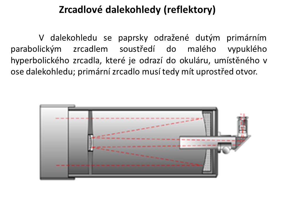 Zrcadlové dalekohledy (reflektory) V dalekohledu se paprsky odražené dutým primárním parabolickým zrcadlem soustředí do malého vypuklého hyperbolickéh