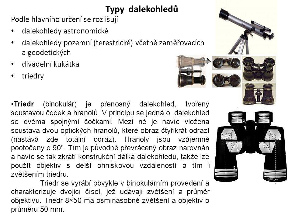 Typy dalekohledů Podle hlavního určení se rozlišují dalekohledy astronomické dalekohledy pozemní (terestrické) včetně zaměřovacích a geodetických diva