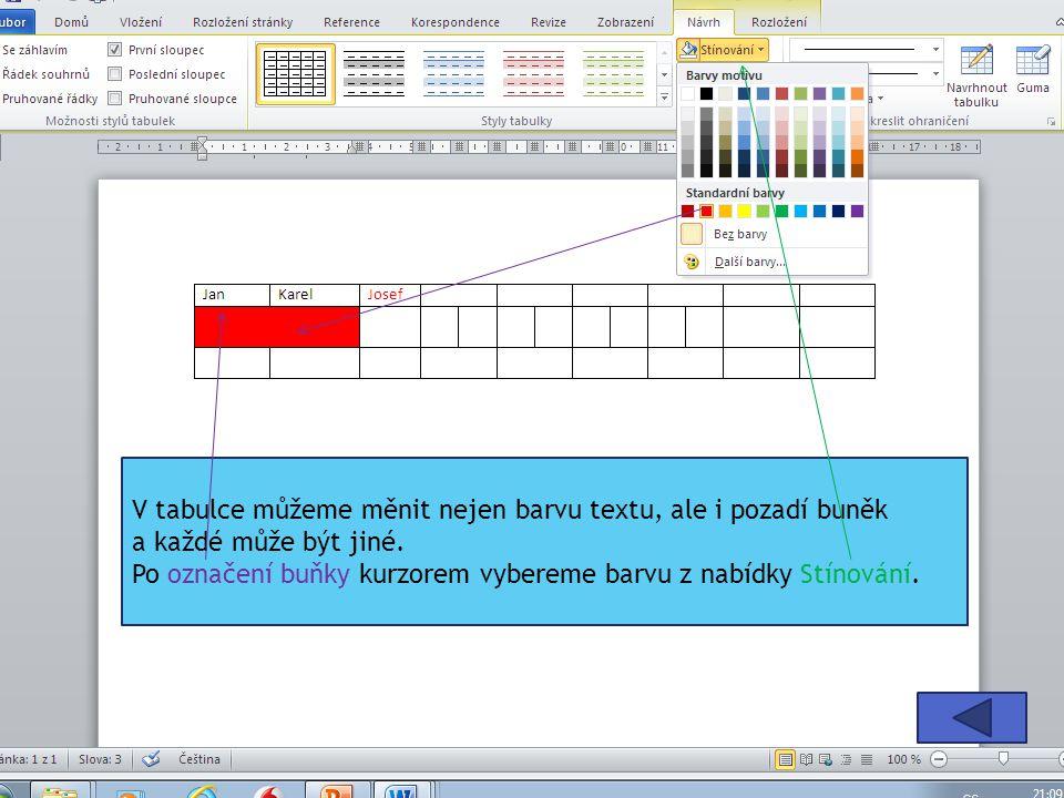 V tabulce můžeme měnit nejen barvu textu, ale i pozadí buněk a každé může být jiné.