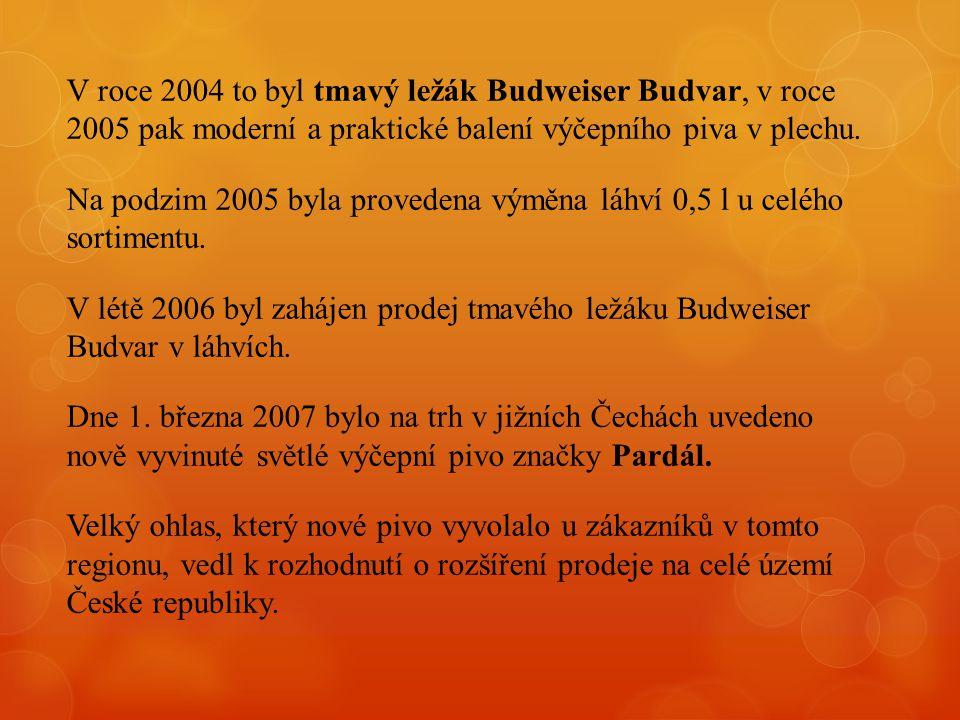 V roce 2004 to byl tmavý ležák Budweiser Budvar, v roce 2005 pak moderní a praktické balení výčepního piva v plechu. Na podzim 2005 byla provedena vým