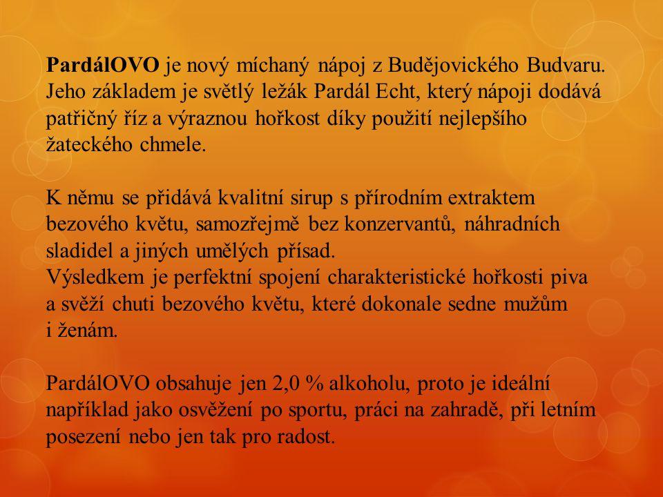 PardálOVO je nový míchaný nápoj z Budějovického Budvaru. Jeho základem je světlý ležák Pardál Echt, který nápoji dodává patřičný říz a výraznou hořkos