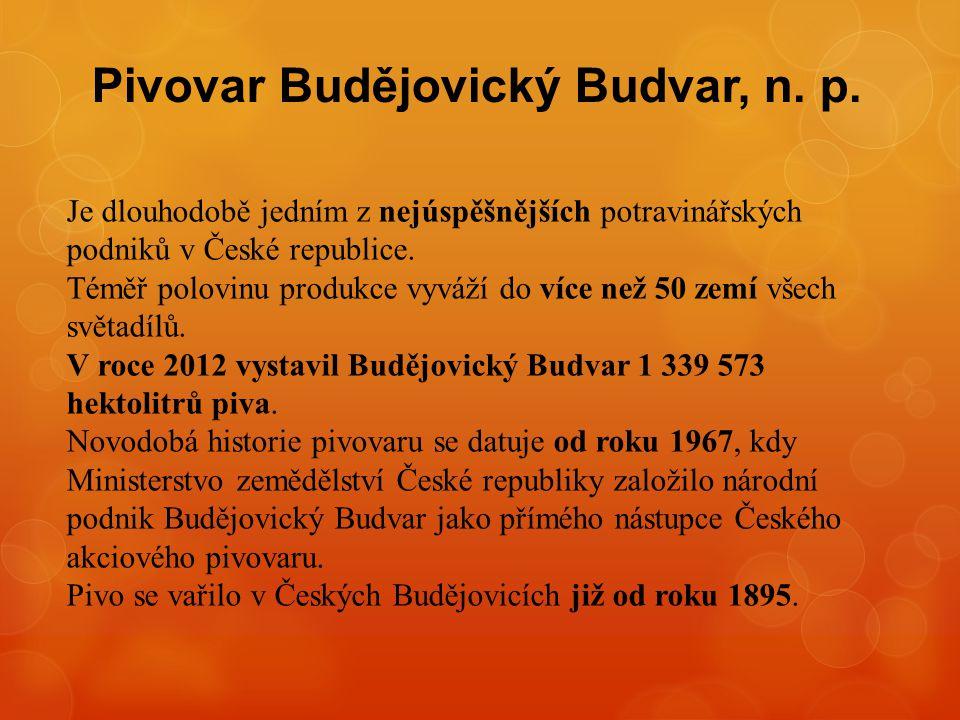 Pivovar Budějovický Budvar, n. p. Je dlouhodobě jedním z nejúspěšnějších potravinářských podniků v České republice. Téměř polovinu produkce vyváží do