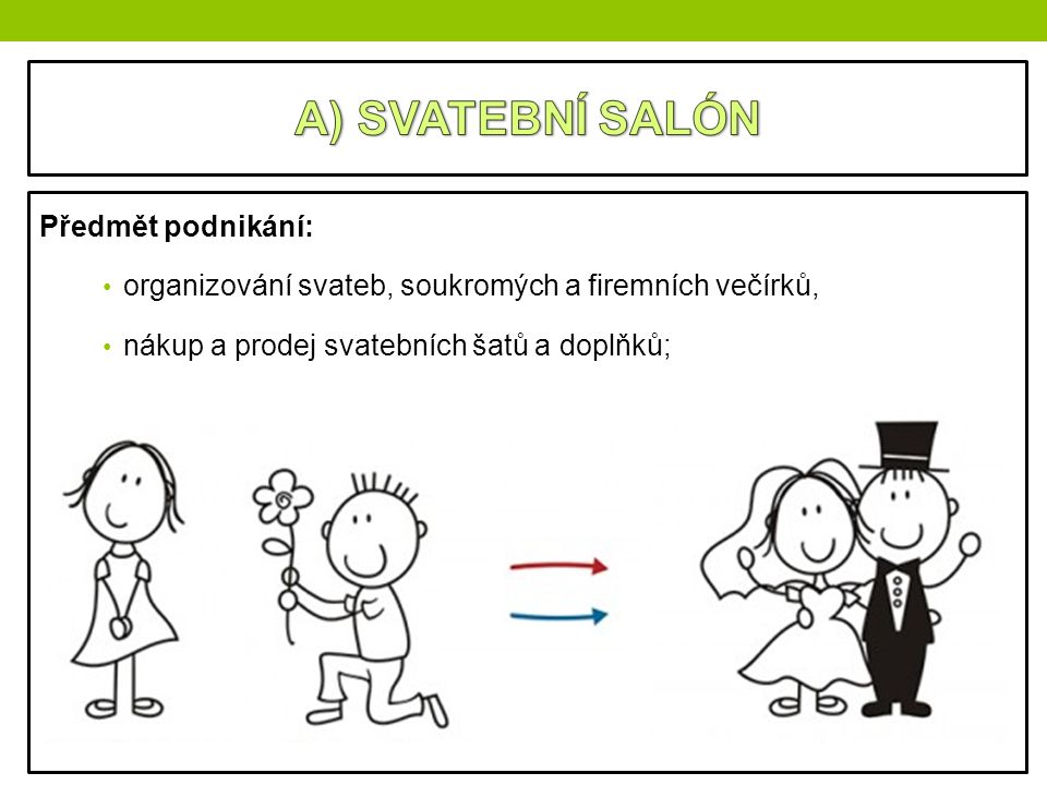 Předmět podnikání: organizování svateb, soukromých a firemních večírků, nákup a prodej svatebních šatů a doplňků;