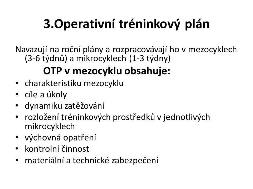 3.Operativní tréninkový plán Navazují na roční plány a rozpracovávají ho v mezocyklech (3-6 týdnů) a mikrocyklech (1-3 týdny) OTP v mezocyklu obsahuje