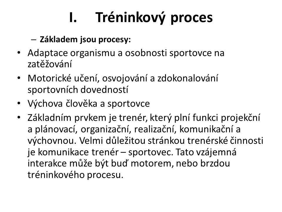 I.Tréninkový proces – Základem jsou procesy: Adaptace organismu a osobnosti sportovce na zatěžování Motorické učení, osvojování a zdokonalování sporto