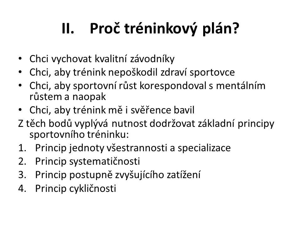 II.Proč tréninkový plán? Chci vychovat kvalitní závodníky Chci, aby trénink nepoškodil zdraví sportovce Chci, aby sportovní růst korespondoval s mentá