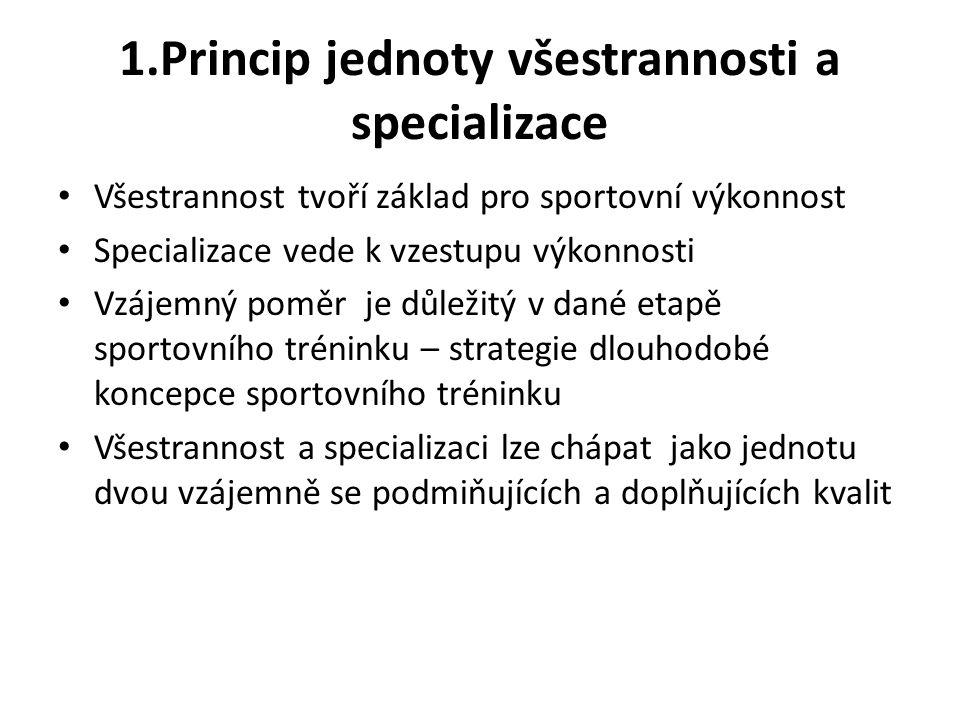 1.Princip jednoty všestrannosti a specializace Všestrannost tvoří základ pro sportovní výkonnost Specializace vede k vzestupu výkonnosti Vzájemný pomě