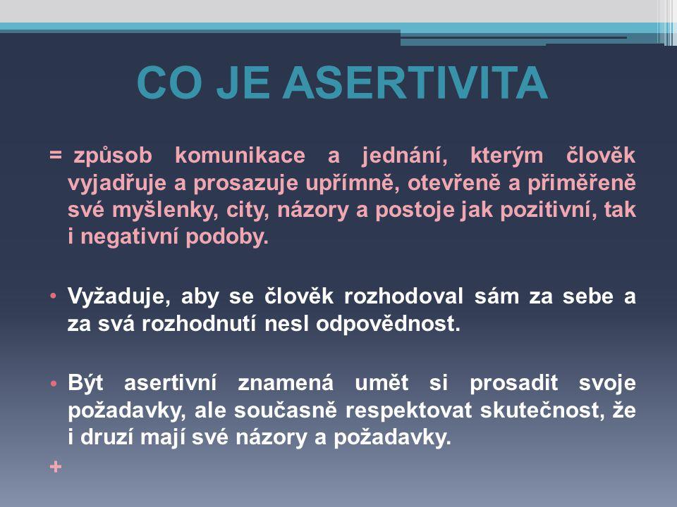 CO JE ASERTIVITA = způsob komunikace a jednání, kterým člověk vyjadřuje a prosazuje upřímně, otevřeně a přiměřeně své myšlenky, city, názory a postoje