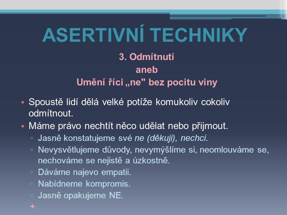 """ASERTIVNÍ TECHNIKY 3. Odmítnutí aneb Umění říci """"ne"""