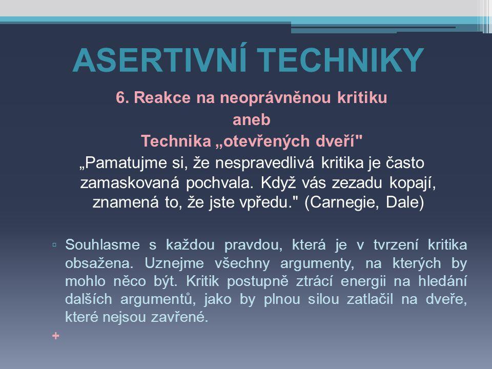 """ASERTIVNÍ TECHNIKY 6. Reakce na neoprávněnou kritiku aneb Technika """"otevřených dveří"""
