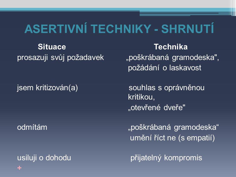 """ASERTIVNÍ TECHNIKY - SHRNUTÍ Situace Technika prosazuji svůj požadavek """"poškrábaná gramodeska"""